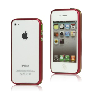 Snap-on Electroplating Hard Plastic Bumper Case for iPhone 4 4S - Red