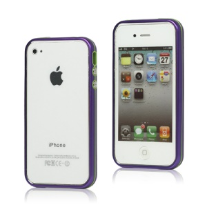 Snap-on Electroplating Hard Plastic Bumper Case for iPhone 4 4S - Purple