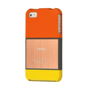 Detachable Brushed Rubberized Hard Case Cover for iPhone 4 4S - Orange