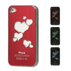 Sculptural Heart Brushed Metal Aluminum Flasher Protector for iPhone 4 4S - Red