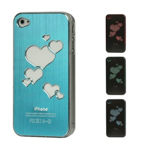Sculptural Heart Brushed Metal Aluminum Flasher Protector for iPhone 4 4S - Blue