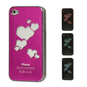 Sculptural Heart Brushed Metal Aluminum Flasher Protector for iPhone 4 4S - Rose