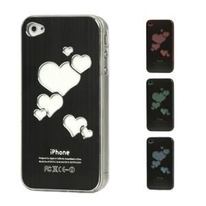 Sculptural Heart Brushed Metal Aluminum Flasher Protector for iPhone 4 4S - Black