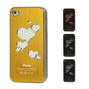 Sculptural Heart Brushed Metal Aluminum Flasher Protector for iPhone 4 4S - Golden