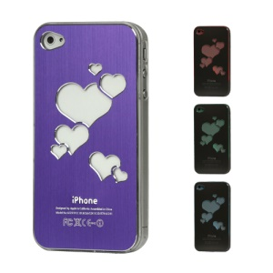 Sculptural Heart Brushed Metal Aluminum Flasher Protector for iPhone 4 4S - Purple