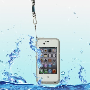 iPhone 4 4S Waterproof Hard Plastic Cover + Strap + Waterproof Headphone Convertor Cable - White