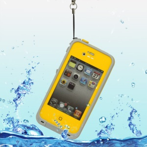 iPhone 4 4S Waterproof Hard Plastic Cover + Strap + Waterproof Headphone Convertor Cable - Yellow
