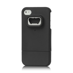 Snap-on Bottle Opener Rubberized Hard Case Cover for iPhone 4 4S - Black
