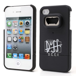 Duff Beer iPhone 4 4S Snap-on Hard Case w/ Bottle Opener Function - Black
