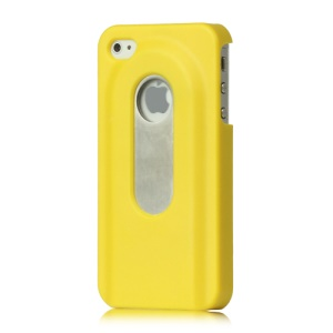 Stainless Steel with Slide Out Bottle Opener Plastic Cover for iPhone 4 4S - Yellow