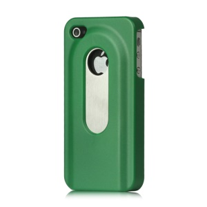 Stainless Steel with Slide Out Bottle Opener Plastic Cover for iPhone 4 4S - Green