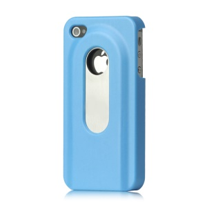 Stainless Steel with Slide Out Bottle Opener Plastic Cover for iPhone 4 4S - Baby Blue