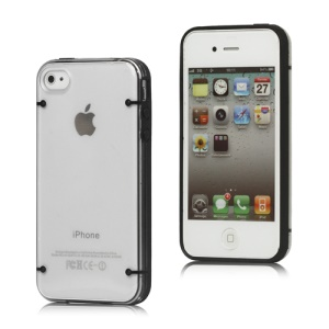Noctilucent Flash Powder Plastic &amp; TPU Hybrid Case Cover for iPhone 4 4S - Black
