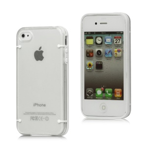 Noctilucent Flash Powder Plastic &amp; TPU Hybrid Case Cover for iPhone 4 4S - White