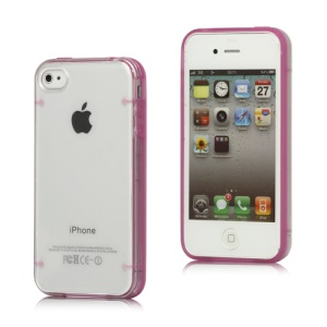 Noctilucent Transparent Plastic &amp; TPU Hybrid Case Cover for iPhone 4 4S - Rose