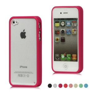Smooth Transparent Plastic & TPU Combo Case Cover for iPhone 4 4S