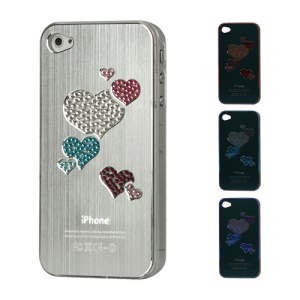 Diamond Heart Brushed Aluminium Flasher Protector for iPhone 4 4S - Silver
