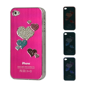Diamond Heart Brushed Aluminium Flasher Protector for iPhone 4 4S - Rose