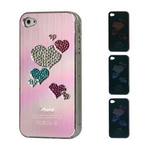 Diamond Heart Brushed Aluminium Flasher Protector for iPhone 4 4S - Light Purple