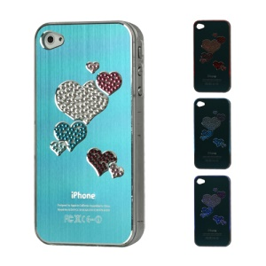 Diamond Heart Brushed Aluminium Flasher Protector for iPhone 4 4S - Light Blue