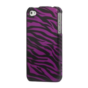 Zebra Hard Plastic Case Cover for iPhone 4 4S - Dark Purple