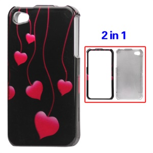 Hearts Two Sides Hard Protective Case for iPhone 4 4S