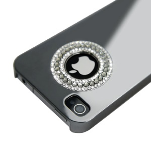 Eileen Circle Ring Series Diamond Electroplating Hard Case for iPhone 4 4S - Shadow Black