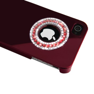 Eileen Circle Ring Series Diamond Electroplating Hard Case for iPhone 4 4S - Wine Red