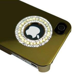 Eileen Circle Ring Series Diamond Electroplating Hard Case for iPhone 4 4S - Gold