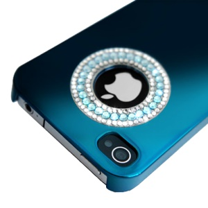 Eileen Circle Ring Series Diamond Electroplating Hard Case for iPhone 4 4S - Capri Blue