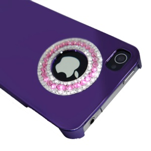 Eileen Circle Ring Series Diamond Electroplating Hard Case for iPhone 4 4S - Violet Purple