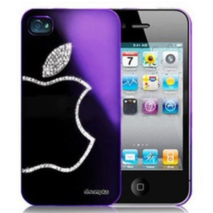 Sparkling Diamond Electroplating Case for iPhone 4 4S - Violet Purple