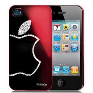 Sparkling Diamond Electroplating Case for iPhone 4 4S - Wine Red