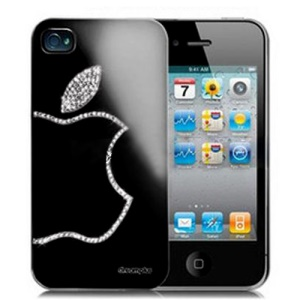 Sparkling Diamond Electroplating Case for iPhone 4 4S - Shadow Black