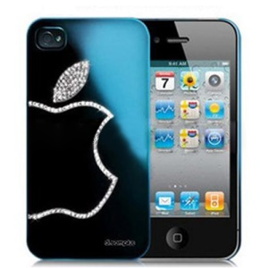 Sparkling Diamond Electroplating Case for iPhone 4 4S - Capri Blue