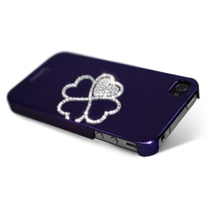 Eileen Clover Lime Series Rhinestone Electroplating Hard Case for iPhone 4 4S - Violet Purple