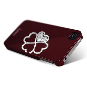 Eileen Clover Lime Series Rhinestone Electroplating Hard Case for iPhone 4 4S - Wine Red