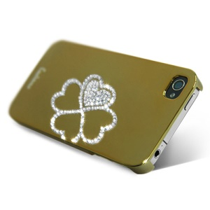Eileen Clover Lime Series Rhinestone Electroplating Hard Case for iPhone 4 4S - Gold