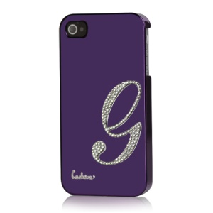 Eileen Lowercase G-Lime Series Electroplating Diamante Case for iPhone 4 4S - Violet Purple