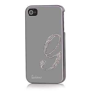 Eileen Lowercase G-Lime Series Electroplating Diamante Case for iPhone 4 4S - Shadow Black