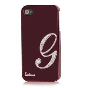 Eileen Lowercase G-Lime Series Electroplating Diamante Case for iPhone 4 4S - Wine Red