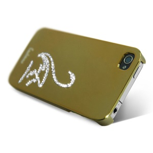 Eileen Swan Lime Series Rhinestone Electroplating Case Cover for iPhone 4 4S - Gold