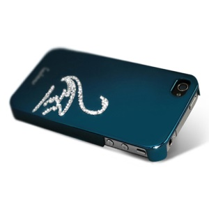 Eileen Swan Lime Series Rhinestone Electroplating Case Cover for iPhone 4 4S - Capri Blue