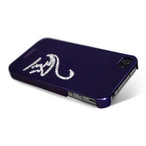 Eileen Swan Lime Series Rhinestone Electroplating Case Cover for iPhone 4 4S - Violet Purple