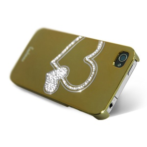 Eileen Big Heart Lime Series Swarovski Diamond Case for iPhone 4 4S - Gold