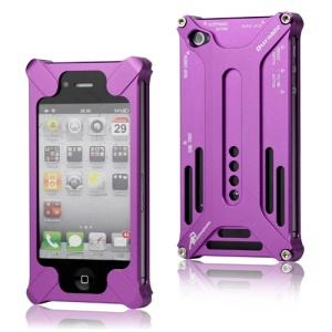 Transformer Metal Bumper Case for iPhone 4 4S - Purple