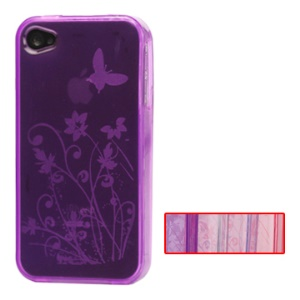 Butterfly Flowers and Plants TPU Case for iPhone 4 4S (All Versions);Red