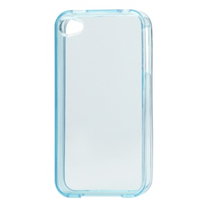Glossy TPU Gel Case for iPhone 4 4S - Translucent Blue