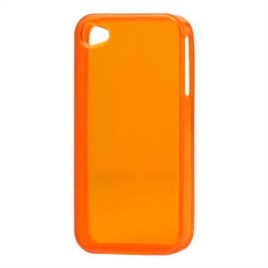 Glossy TPU Gel Case for iPhone 4 4S - Translucent Orange