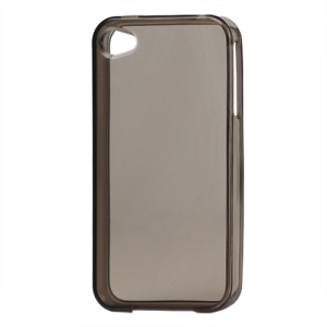 Glossy TPU Gel Case for iPhone 4 4S - Translucent Grey